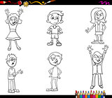 cartoon children characters coloring book
