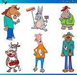 fairy tale cartoon animal characters set
