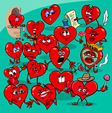 valentine hearts cartoon illustration love group