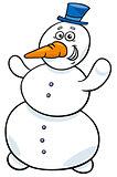 happy snowman character cartoon illustration
