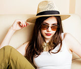 pretty young woman in summer hat, fashion modern people concept