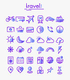 Travel, tourism and weather linear icons, set 1