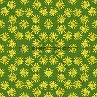 Flower seamless pattern bright green colors