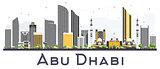 Abu Dhabi UAE City Skyline with Gray Buildings Isolated on White