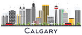 Calgary Canada City Skyline with Gray Buildings Isolated on Whit