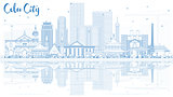 Outline Cebu City Philippines Skyline with Blue Buildings and Re