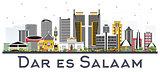 Dar Es Salaam Tanzania Skyline with Color Buildings Isolated on