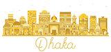 Dhaka Bangladesh City skyline golden silhouette.