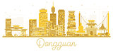 Dongguan China City skyline golden silhouette.