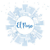 Outline El Paso Skyline with Blue Buildings and Copy Space.
