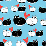 Seamless funny pattern of enamored cats