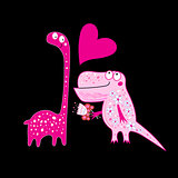 Funny greeting card with enamored dinosaurs