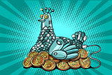 The hen incubates electronic money bitcoin