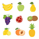 Set of colorful cartoon fruit icons apple, pear, peach, banana, grapes, kiwi, lemon, pomegranate, pineapple.