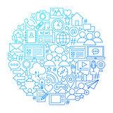 Social Media Line Icon Circle Design