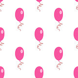 Pink white air balloons seamless pattern
