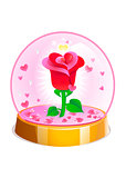 Magic crystal ball with rose and small pink hearts inside. Vector illustration for Valentines day.