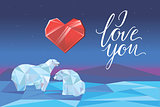Low poly polar bears sitting on ice and looking each other. Valentines day design. Romantic card. Vector illustration.