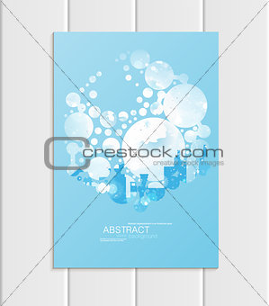 Brochure A5 or A4 format design Christmas urban city, abstract circles, winter landscape New Year 2018