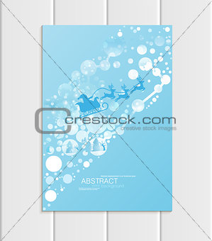 Brochure A5 or A4 format design Christmas Santa Claus in sleigh winter landscape New Year 2018