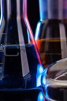 The Chemistry Lab background. Various glass chemistry lab equipment