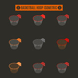 Set of basketball rings with basket in isometric, vector illustration.