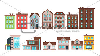 city buildings and townhouse apartment