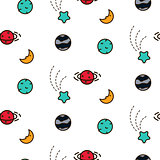 Doodles cosmic seamless vector pattern.
