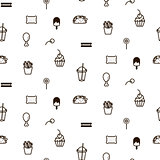 Fast food sweet icon style seamless vector pattern.