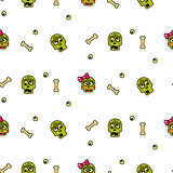 Zombie head cartoon cute couple seamless pattern.