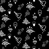 Flash tattoo style black doodles seamless vector pattern.