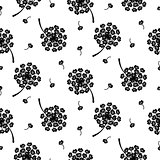 Dandelion seamless simple vector pattern.