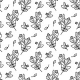 Foliage branches floral seamless simple vector pattern.