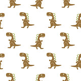 Dino simple brown color seamless vector pattern.