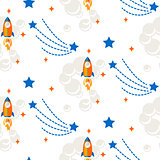 Space rocket cartoon seamless vector pattern.