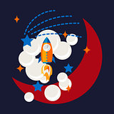 Cartoon rocket and moon in space t shirt design.