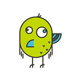 Funny crazy bird vector illustration.