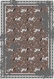 Horse and paisley grey brown vector carpet design.