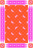 Circus horse red and pink vector carpet design.