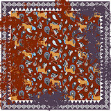 Horse and paisley rough rug vector square design.