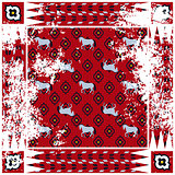 Horse red rough rug vector square design.