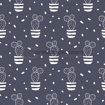 Cactus plant in a pot blue seamless pattern.