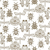 Elegant line style insect vector seamless pattern.