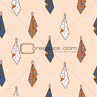 Kitchen towels hanging on hook seamless vector pattern.