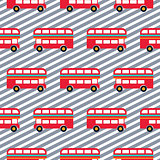 Red bus boy striped seamless vector pattern.