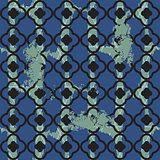Brushed quatrefoil blue seamless vector pattern.