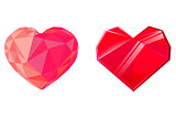 Two red crystal hearts isolated on white background. Design element for Valentines day. Vector illustration.