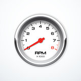 Vector realistic tachometer isolated