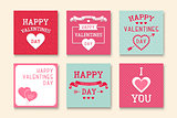 Set of creative greeting cards. Happy valentines day backgrounds