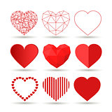 Collection of creative vector hearts. Happy Valentines Day set
